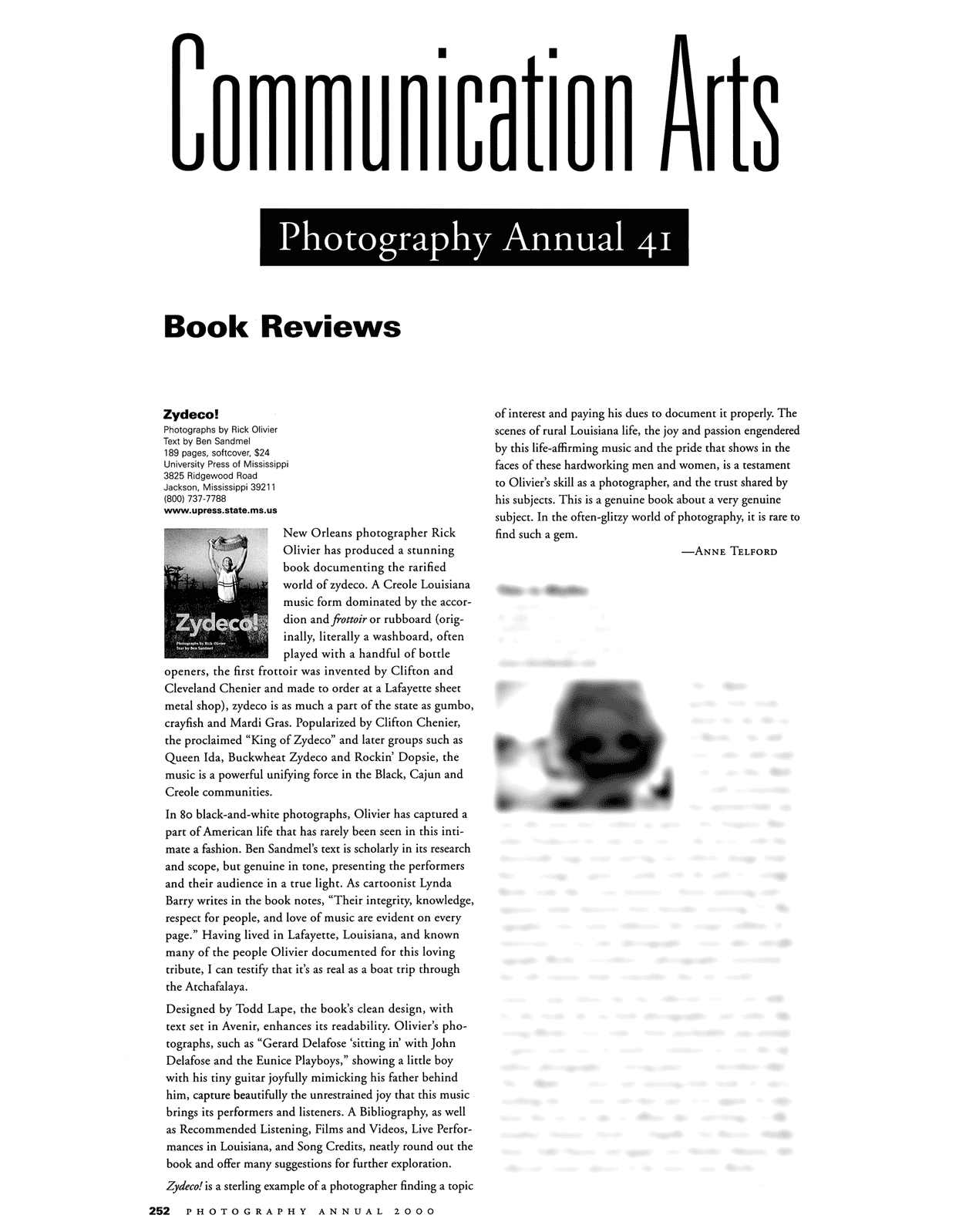 "Communication Arts Photography Annual review of ""Zydeco!"" book"