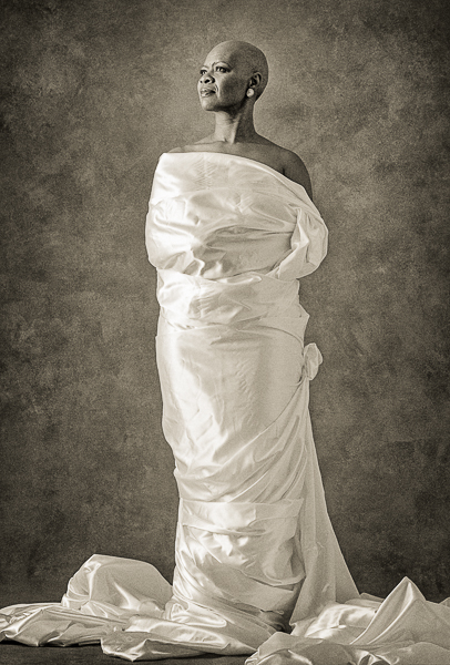 Irma Thomas wrapped in silk fabric