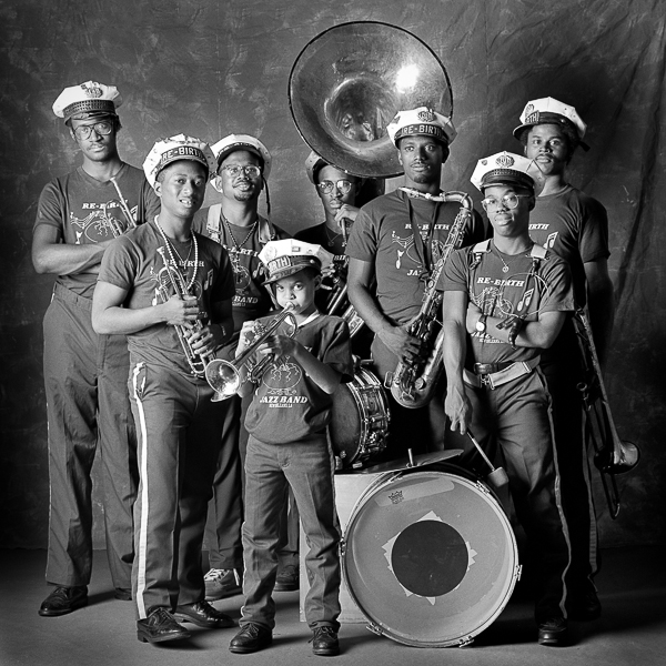 Rebirth Brass Band Portrait in studio, New Orleans, LA